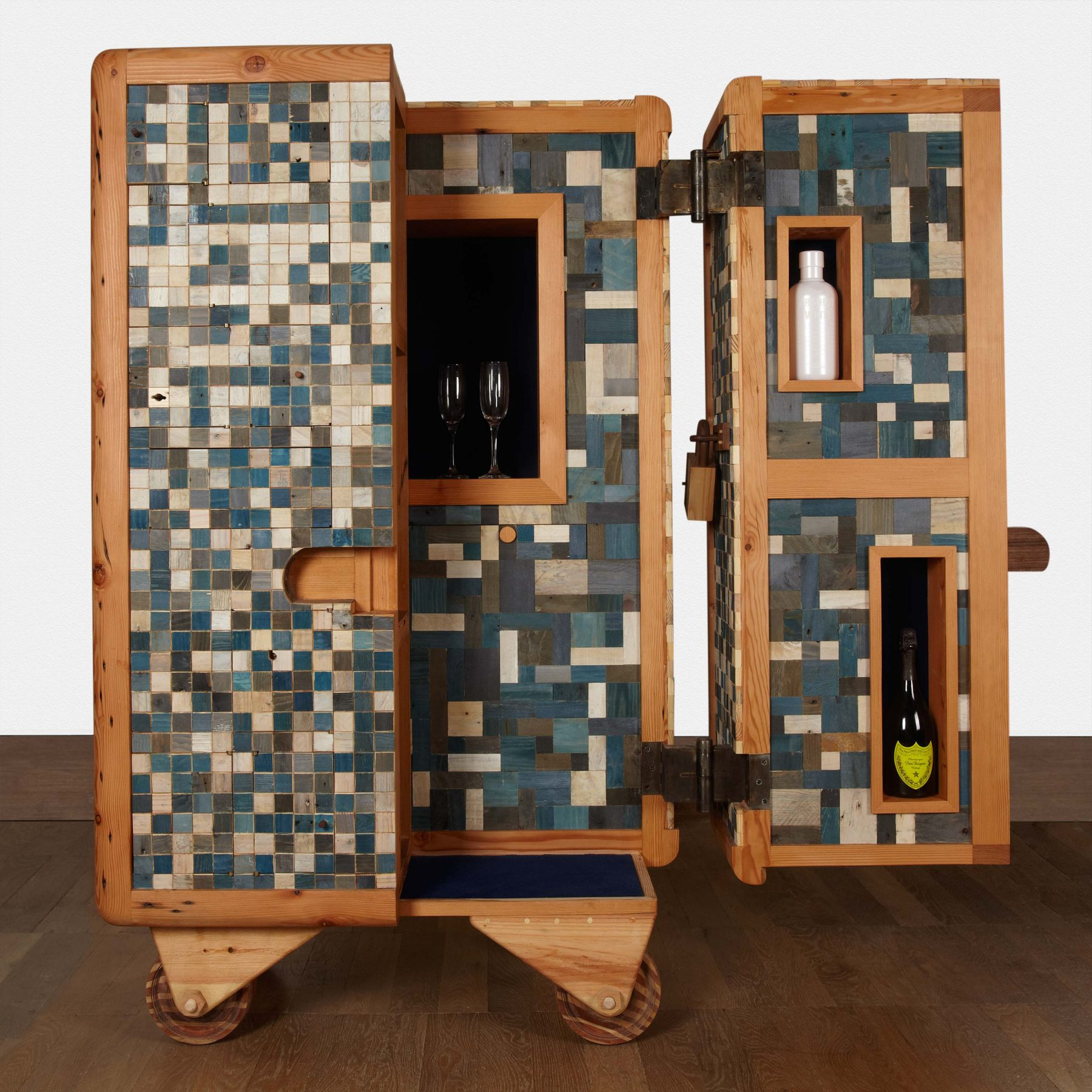 Jan-Hendzel-Studio-Selfridges-Cabinet-front-open-with-bottles