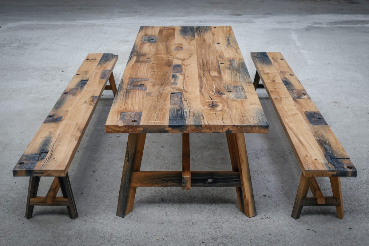 Jan Hendzel Studio black canal gate oak table and benches