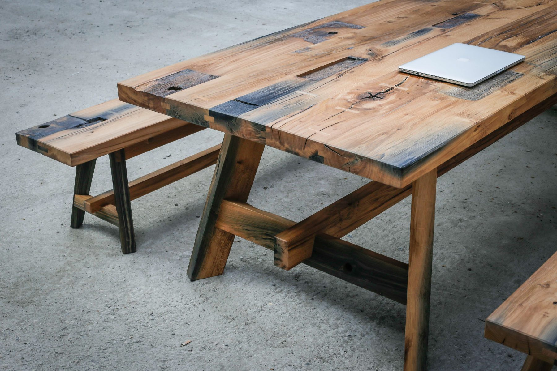 Black Oak table reclaimed timber from Avon and Kennet canal. Large table beautiful timber
