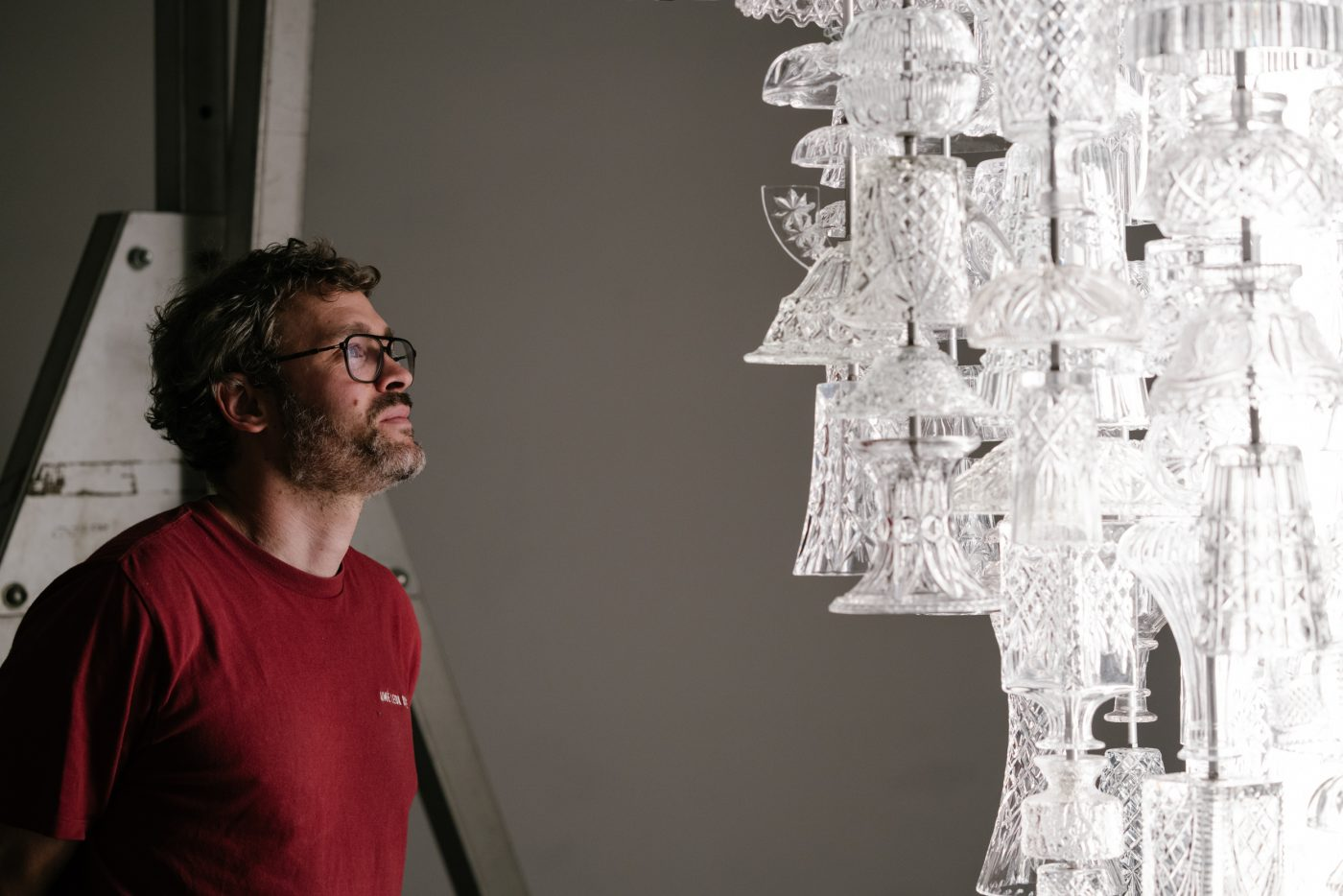Against the Grain exhibition Jan Hendzel with the Stuart Haygarth ICICLE (Stem) (c) George Baggaley